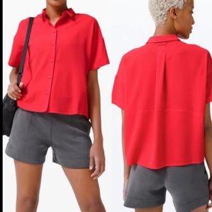 LULULEMON Full Day Ahead Short Sleeve Shirt in Red